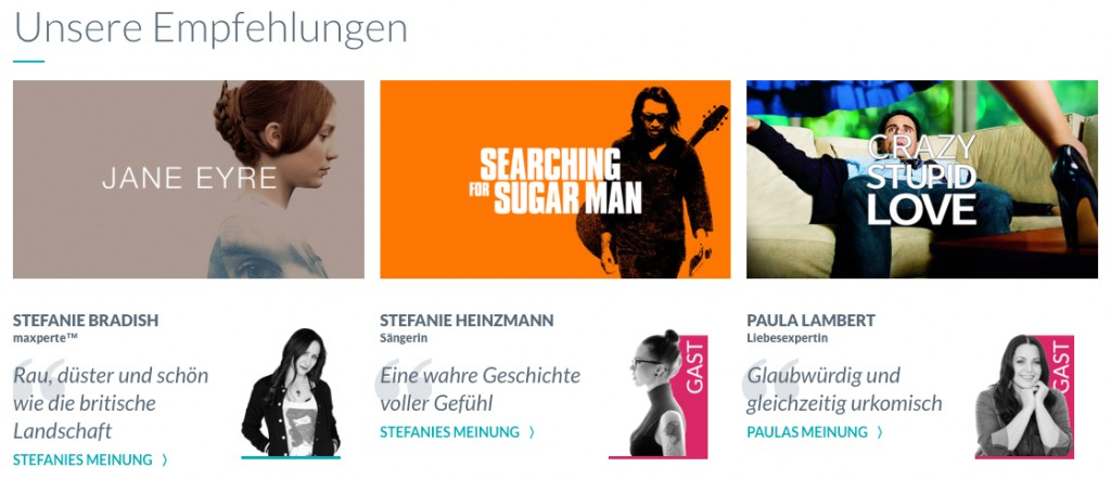 """[maxdome Screenshot} neu """"Entertainment-Guide"""" mit persönlichen Empfehlungen"""